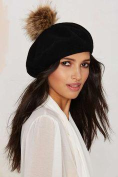 Madeleine Pom Pom Wool Beret - Black
