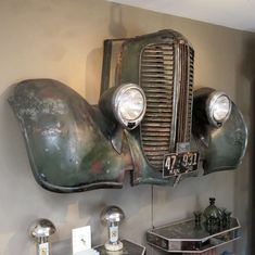 1938 Dodge Truck Front End Wall Mount Car Part Furniture, Automotive Furniture, Automotive Decor, Automotive Group, Automotive Logo, Man Cave Bathroom, Man Cave Room, Man Cave Bar, Garage Art