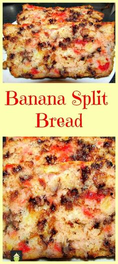 A great family favorite, full of goodies and really easy to Banana Split Bread. A great family favorite, full of goodies and really easy to . A great family favorite, full of goodies and really easy to . Quick Bread Recipes, Sweet Recipes, Cooking Recipes, Scone Recipes, Copycat Recipes, Breakfast Recipes, Fruit Bread, Dessert Bread, Apple Bread
