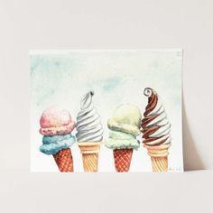 Ice Cream Cones Soft Serve Giclee Print of Watercolor Painting 8 x 11 x 14 inches Fine Art Poster Baskin Robbins. - at walmart coupon Ice Cream Painting, Ice Cream Art, Cow Painting, Simple Line Drawings, Soft Serve, Diy Canvas Art, Art Party, Watercolor Paintings, Baskin Robbins