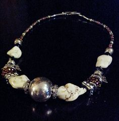 Chunky natural stone with silver and sparkle