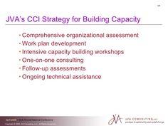 JVA's CCI Strategy for Building Capacity <ul><li>Comprehensive organizational assessment </li></ul><ul><li>Work plan devel... Capacity Building, Assessment, It Works, Workshop, How To Plan, Atelier, Work Shop Garage, Nailed It, Business Valuation