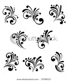 Set of beautiful floral elements isolated on white. Vector version also availabl… Set of beautiful floral elements isolated on white. Vector version also available in gallery Face Painting Designs, Paint Designs, Henna Designs, Body Painting, Nail Art Designs, Stencil Designs, Painting Tips, Nail Art Arabesque, Scroll Design