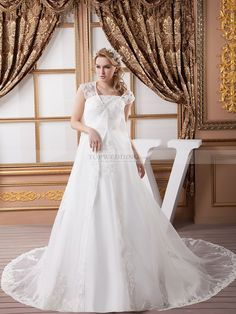 Satin Strapless Wedding Gown with Beadwork and Sheer Lace Overcoat