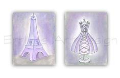 Eiffel Tower Art Print, Purple Dress wall Art, Paris Nursery decor, SET OF 2, French Nursery art, Girls room decor, Shabby Chic Nursery
