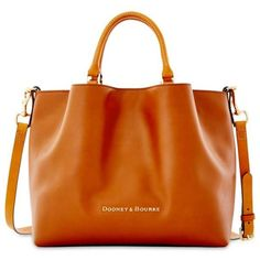 Dooney Bourke Natural City Leather Large Barlow Satchel (490 CAD) ❤ liked on Polyvore featuring bags, handbags, natural, dooney & bourke satchel, bucket purse, orange leather handbag, leather satchel purse e leather satchel