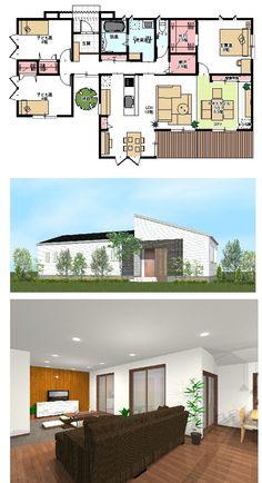 平屋 35坪 間取り - Google 検索 House Layout Plans, House Layouts, House Plans, Building Plans, My Dream Home, My House, Sweet Home, Floor Plans, House Design