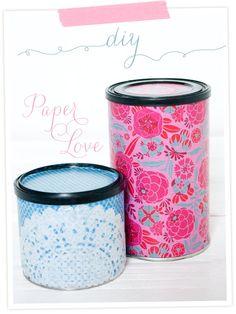 DIY-Anleitung für eine beklebte Dose. Mit Art Potch (Mod Poge), Origami-Papier und Spitze  Pictured DIY: Storage Cans from old tins. Made with Mode Podge, Lace and Origami-Paper.
