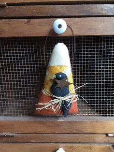 Primitive Fall Candy Corn with Crow on Wire Hanger - Halloween Ornament