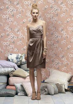 Satin Sheath/Column Sweetheart Ruched Draping Empire Waist Knee-length Bridesmaid Dress