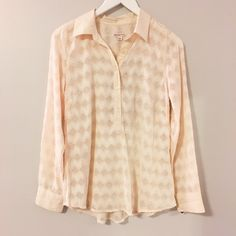NWT Cream Blouse NWT Sheer cream blouse with Chevron textured design. 100% polyester. Merona Tops Blouses