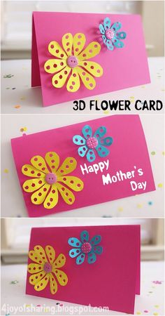 DIY Mother's Day 3D Flower Card #mothersday #mothersdaycard #kidscraft #papercraft #mothersdaycrafts