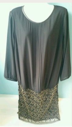 United Colors of Benetton Black and Gold Dress Sequins Womens Large NWT #Benetton #Sexy #Formal