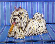 Maltese popsicle kitchen picture dog art print 8x10 giclee gift schmetz