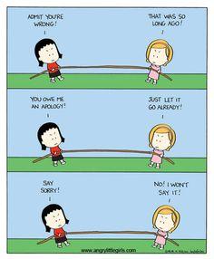 Admit you're wrong . Angry Little Girls, Korean American, A Comics, Comic Strips, Rage, November, Childhood, Lol, Cartoon