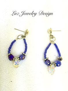 "Here's a cool @etsy item made by shop Luzjewelrydesign. ""Blue Swarovski Earrings"""