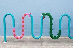 Knit Snake Yarnbomb