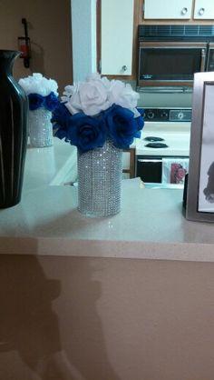 My Diy Royal Blue And White Wedding Centerpieces Blue Wedding My Wedding Royal Blue Cente Blue Wedding Centerpieces, Diy Centerpieces, Reception Decorations, Silver Centerpiece, Royal Blue Wedding Decorations, Wedding Table, Wedding Reception, Budget Wedding, Diamond Party