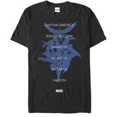 """Join Captain America's team and fight against the Superhuman Registration Act by wearing the Marvel Captain America Supporters Black T-Shirt. This awesome black Marvel Civil War shirt lists """"Captain A"""