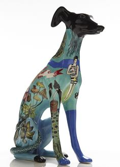 Brazilian artist Evelyn Tannus paints beautiful surface designs on elegant ceramic statues of Greyhound dogs. Seemingly disparate imagery flows together. Pottery Animals, Ceramic Animals, Dog Sculpture, Animal Sculptures, Ceramic Painting, Ceramic Art, Greyhound Kunst, Dog Day Afternoon, Grey Hound Dog