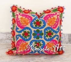 16'' Indian Cotton Embroidery Pom Pom Beautifull Design Suzani Art Cushion Cover #NamasteArt #ArtDecoStyle