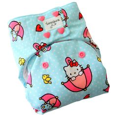 Hello Kitty Blue Pink One Size Cloth Diaper with PUL Snaps - Newborn Toddler Girls Hearts