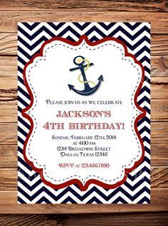 Nautical Birthday Invitation, Sailor, BOY, GIRL, Chevron Stripes, Navy, Pink, Yellow, Sailor Birthday Invitation, Boat, Anchor -Y143