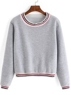 Grey Round Neck Striped Crop Sweatshirt -SheIn