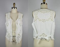 LACE Top Embroidered Blouse EYELET Top White Vest Blouse Linen Vest Sheer See Through Cutwork Embroidery Summer Boho Gypsy size S - M