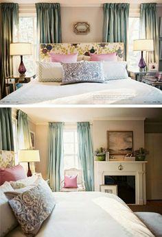 Bed in between windows