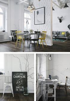 Sala de jantar e living com estilo escandinavo, pontuado com cores e citações. O design original é assinado por Denis Krasikov