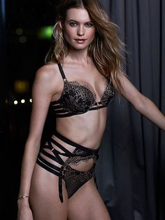 Strappy Crossback Push-Up Bra Very Sexy in Black + Lace Strappy Garter Belt + Lace Mesh Strappy Thong