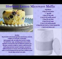Blueberry Muffin Recipe made in Pampered Chefs Ceramic Egg Cooker Pampered Chef Egg Cooker, Pampered Chef Party, Pampered Chef Recipes, Lemon Blueberry Muffins, Blue Berry Muffins, Microwave Muffin, Ceramic Egg Cooker, Cooker Cake, Yummy Treats