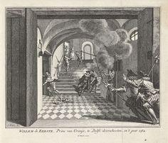 Simon Fokke | Moord op de prins van Oranje, 1584, Simon Fokke, 1753 | De prins van Oranje te Delft vermoord door Balthasar Gerards, 10 juli 1584. Willem van Oranje is op de trap neergeschoten en zakt in elkaar, links vlucht de moordenaar. Op de voorgrond twee toegesnelde wachten.