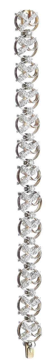 A bracelet set with circular- and rose-cut diamonds, length approximately 180mm, French assay marks, fitted case, circa 1880