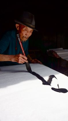 The Old Man and Calligraphy #shodo #calligraphy #ChineseCalligraphy #Brushpainting #ChineseArt #JapaneseArt