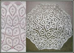 Crochet white umbrella ♥LCU-MRS️♥ with diagram, busy pattern.