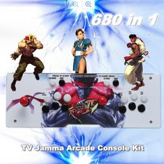 Classic 680 Video Games - 2 Players Pandora's Box 4S-Metal Double Stick Arcade Console - Color changing LED Light Installed