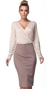 Rochie midi, cu fusta bej si bluza crem  Lemoniade Costume, Formal Dresses, Skirts, Sweaters, Outfits, Fashion, Outfit Combinations, Dresses For Formal, Moda
