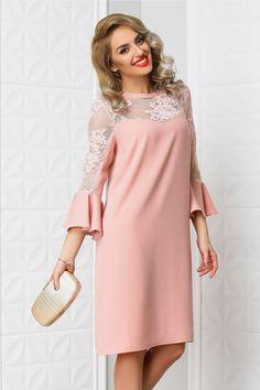 rochie midi roz pudrat de ocazie cu insertii de dantela Royal Clothing, Brokat, Kebaya, Elegant Dresses, Dress To Impress, Fashion Dresses, Cold Shoulder Dress, Satin, Casual