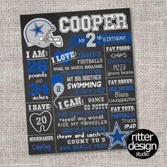 Printable birthday party invitation card dallas by qtpiewrappers dallas cowboys any team football birthday chalkboard sign digital file only filmwisefo