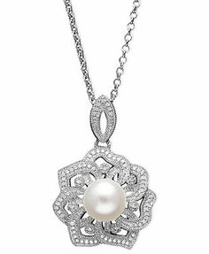 Sterling Silver Necklace, Cultured Freshwater Pearl and Diamond (1/5 ct. t.w.) Open Flower Pendant -stunning!