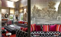 Modern mural wallpaper 'Landscape around Rome' by Misha wallpaper: Designer Tommaso Ziffer featured hand painted wallpaper Landscape around Rome on Silver Leaves silk in the living room of a client's home in Rome, Italy.