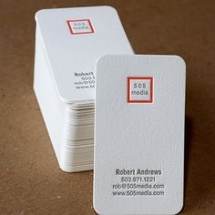 Letterpress Business Card Set  Modern Square di RubyPress su Etsy