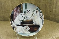 Playing Dress-Up White Cats Collector Plate by Franklin Mint Lesley Hemmett