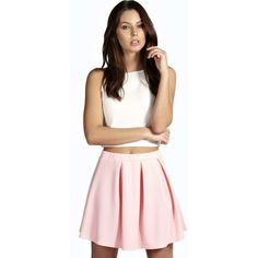 Boohoo Maria New Season Box Pleat Skater Skirt ($7) ❤ liked on Polyvore featuring skirts, baby pink, pleated midi skirt, skater skirt, pink skater skirt, box pleat skirt and bodycon midi skirt