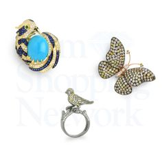 Two birds and a butterfly all in gold with colored diamonds and one ring includes a fine blue turquoise and blue sapphires along with the diamonds. All 3 pieces are rings.