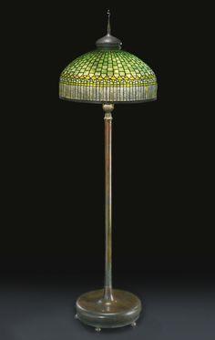 "TIFFANY STUDIOS ""CURTAIN BORDER"" FLOOR LAMP circa 1905"