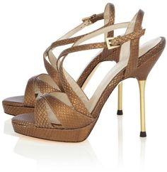 399de570ee6e Karen Millen - Brown Strappy Snake Sandal - Lyst