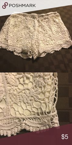 Lace shorts Cream lace shorts Shorts